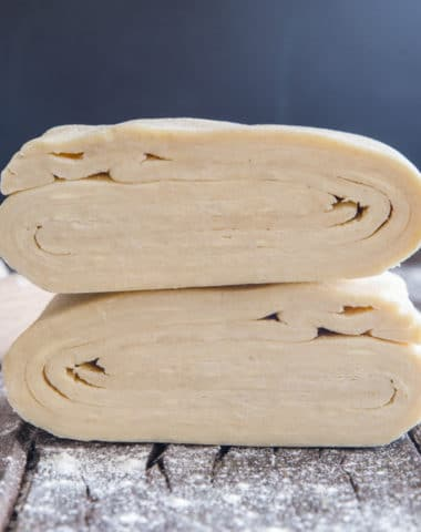 puff pastry cut in half stacked.