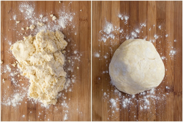 Dough moved to board and gentled kneaded to form a ball.