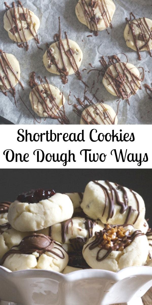 This easy buttery melt in your mouth Shortbread Recipe is the perfect no spread cookie dough for making a chocolate chunk slice and bake cookie or a tasty thumbprint cookie. #shortbread #Christmascookie #cookie #holidaybaking #thumbprintcookie
