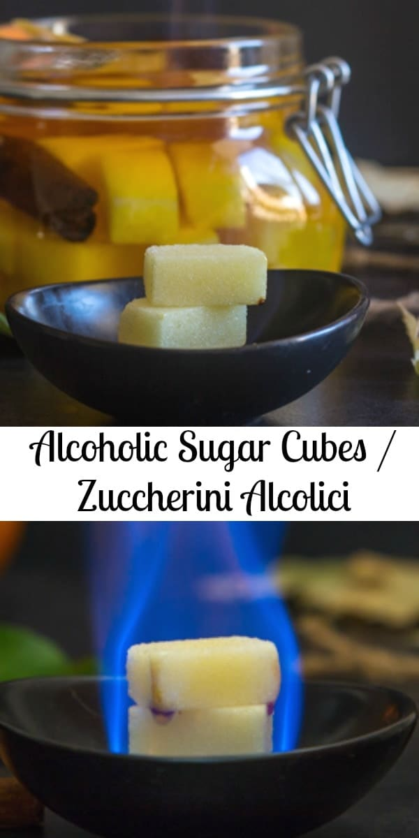 These Alcoholic Sugar Cubes are soaked in alcohol, orange slices and cinnamon or any combination you prefer.  Better known as an Italian digestive. #sugar #sugarcubes #alcohol #alcoholsugarcubes #digestive