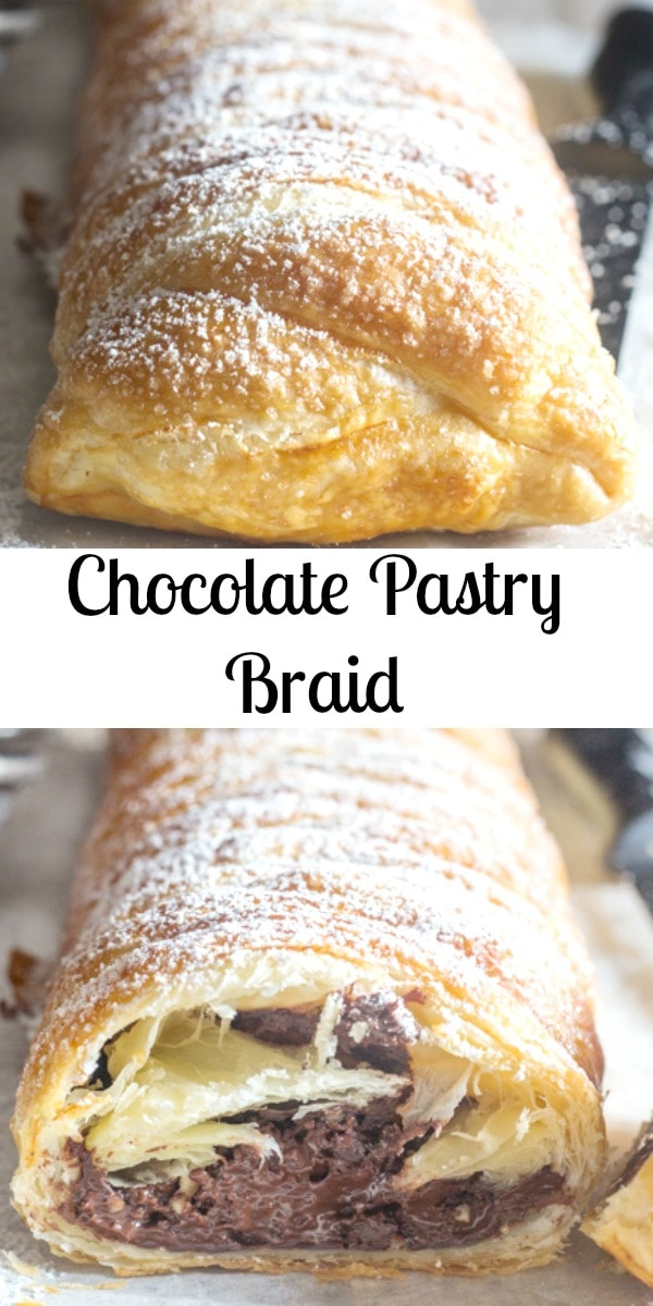 Chocolate Pastry Braid is a fast and easy recipe. Perfect for when unexpected guests arrive or you just want something sweet. Choose your favourite chocolate and dessert is served. #puffpastry #chocolatepastry #chocolatepuffpastry #dessert