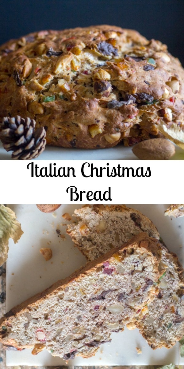 An Italian Christmas Bread, full of nuts, candied fruit and chopped chocolate. Serve it at Breakfast or even Dessert, delicious with a cup of tea or coffee. #fruitcake #fruitbread #Christmascake #Christmasbread #dessert #breakfast