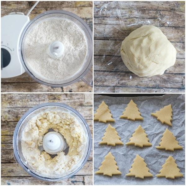 honey cookies how to make, using a food processor making the dough and cutting out