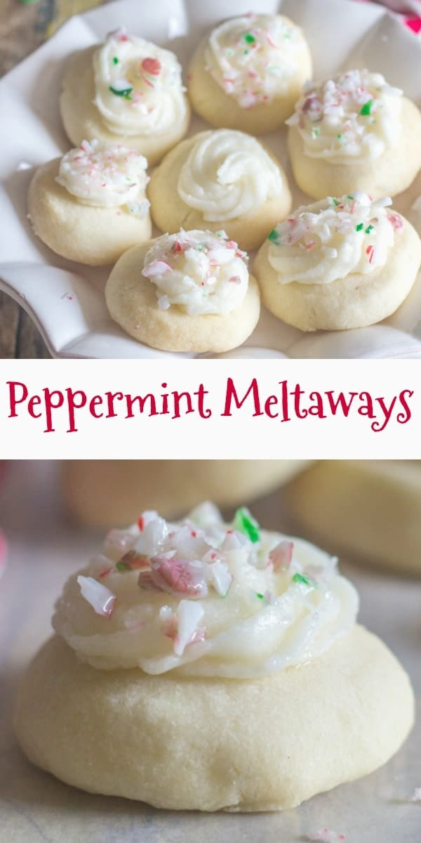 These Peppermint Melting Moments are a perfect addition to your Christmas Cookie Baking List. Fast and easy with a delicate taste of peppermint. Add a creamy frosting delicious! #meltaways #christmascookies #cookies #Christmas #shortbread