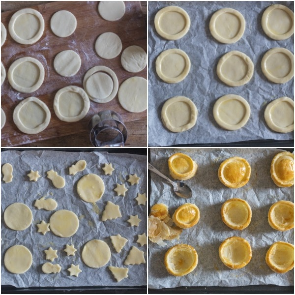 how to make vol au vent cutting out the pastry, egg wash, baking