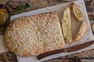 ciambella romagnola 3 pieces cut on a white board