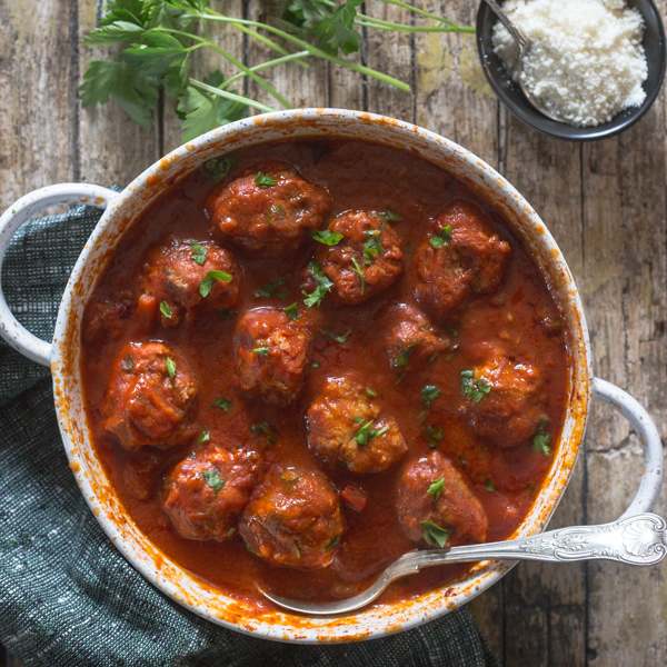 Italian meatballs in a red sauce