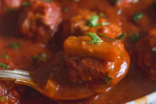 Italian meatballs in a pepper tomato sauce