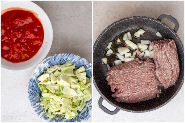 tomato & shredded cabbage in bowls ground beef, olive oil & onions in a black pan