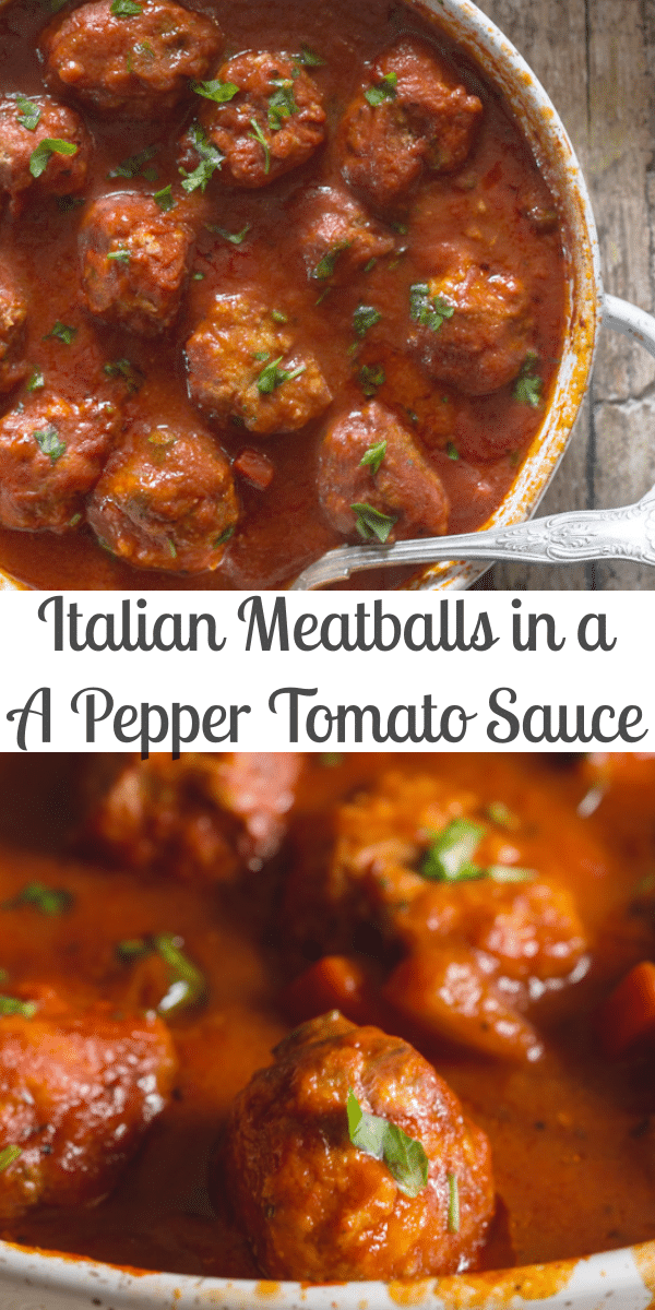 Italian Meatballs never tasted so good! Made in a delicious Tomato and Pepper Sauce. Serve over pasta or rice or like the Italians, as a Main Dish. #meatballs #Italianrecipe #Italianmeatballs #beef #pork #groundbeef #maindish