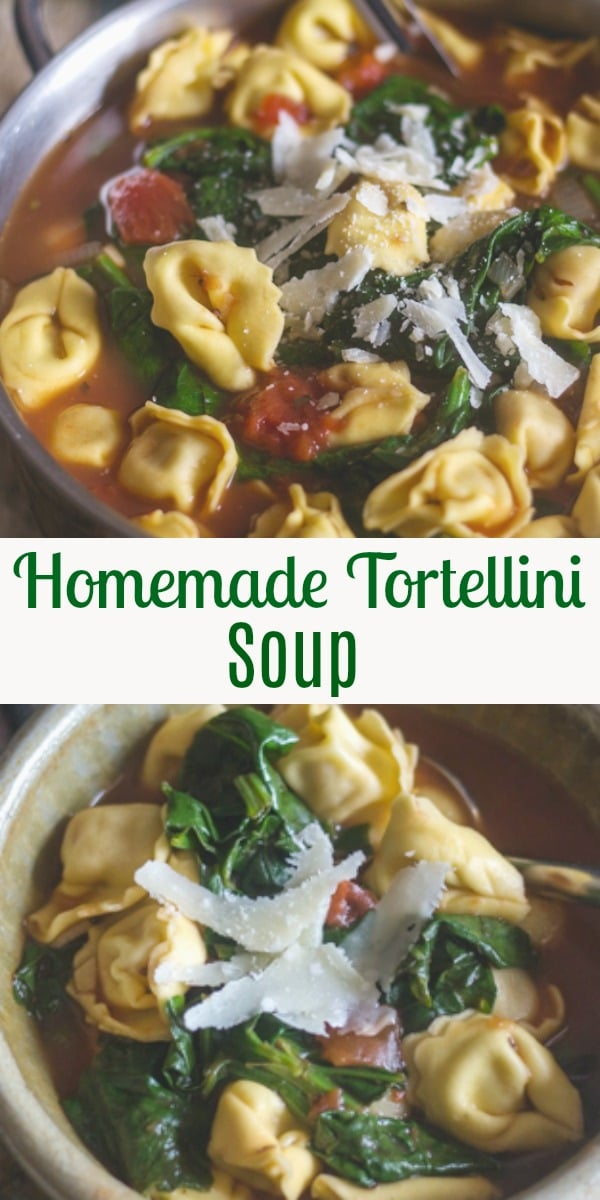 A delicious Hearty Tortellini Soup, a simple soup made with a vegetable broth and spinach. Hearty and comforting. Perfect for dinner or lunch. #soup #tortellinisoup #Italianrecipe #lunch #dinner #comfortfood
