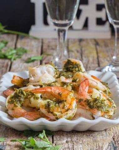 baked shrimp on a white plate