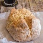Irish soda bread baked on a white paper