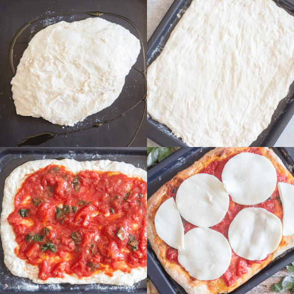 no knead pizza dough how to make, resting on the pan, spread, topped with sauce and cheese