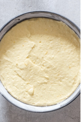the batter in a cake pan