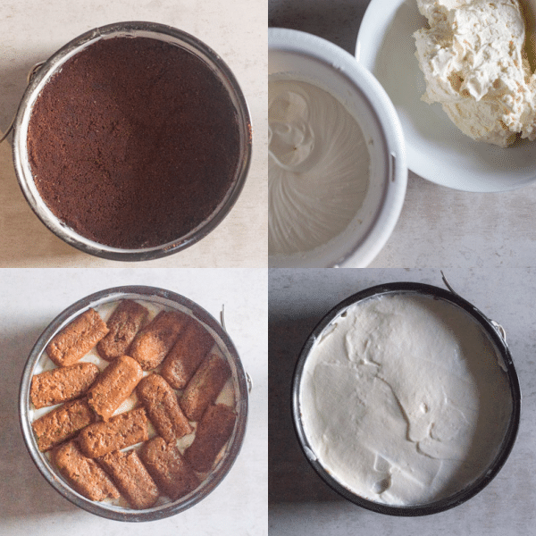 tiramisu cheesecake how to make crumb base, cookies, cream filling