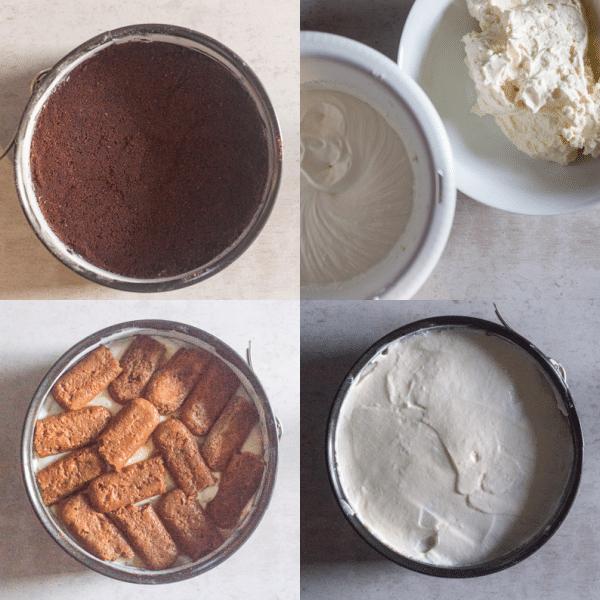 tiramisu cheesecake how to make crumb base, cookies, cream filling