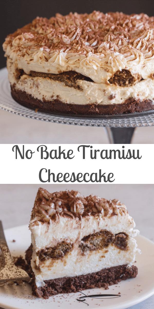 A creamy no bake Tiramisu Cheesecake, Classic Tiramisu meets cheesecake, works perfectly and tastes even better! The perfect dessert idea. #tiramisu #tiramisucheesecake #cheesecake #Italiandessert #nobake #nobakedessert