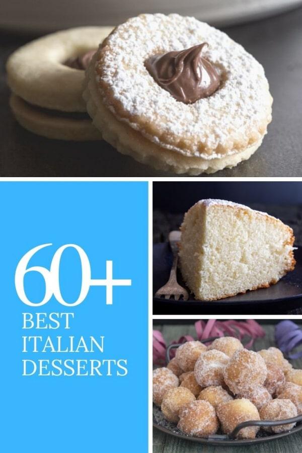 Italian dessert cookies, a slice of cake & castagnole.