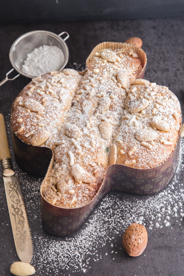colomba with powdered sugar on a black board