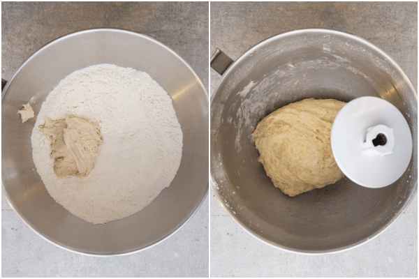 the dough and flour in the mixing bowl and after it has been kneaded together
