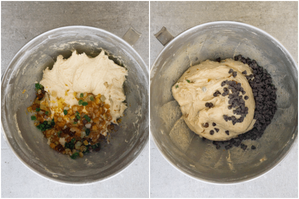 adding the candied fruit in the bowl and adding the chocolate chips in the bowl to the dough
