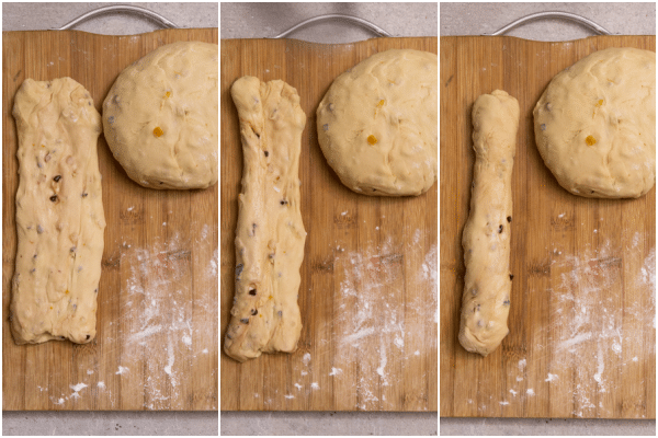 forming the dough into 3 pieces to form a dove
