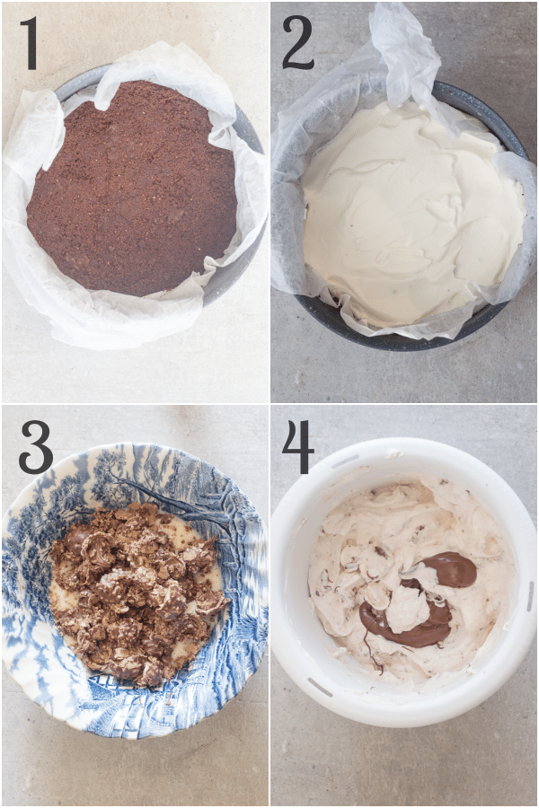 ice cream cake how to make the cookie base, no churn ice cream layers