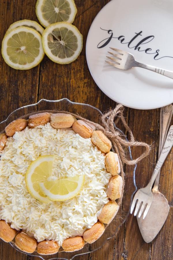lemon charlotte on a wooden board