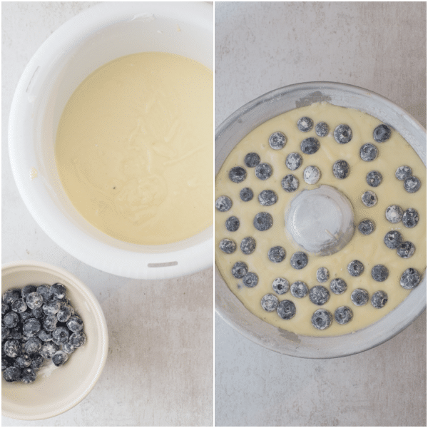 how to make blueberry cake the batter and in the pan to bake