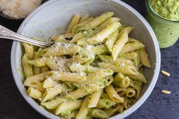 asparagus pesto & pasta in a white bowl