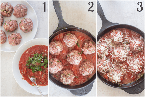baked meatballs how to make sauce and formed meatballs, in the pan ready to bake