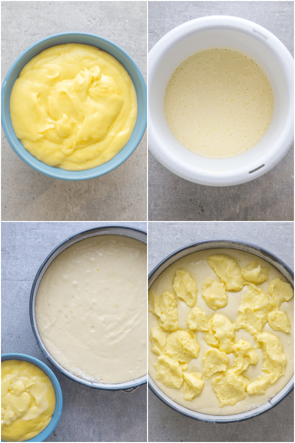how to make lemon cake the pastry cream, the batter, in the cake pan and with pastry cream on top ready to be baked