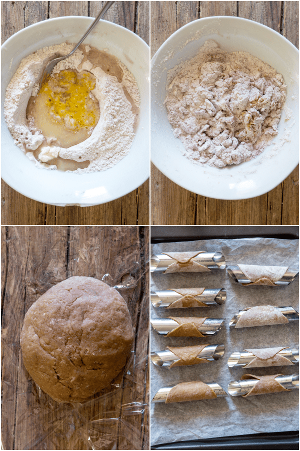 how to make cannoli shells making the dough and rolling and wrapping the tubes