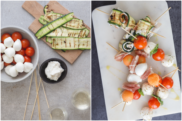 how to make antipasto skewers, ingredients and on a stick
