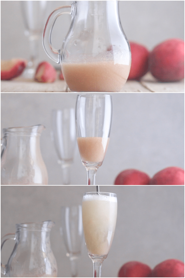 how to make a bellini cocktail puree in the jug, in the glass and with prosecco and stirred