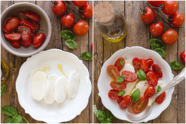caprese salad how to make ingredients and made in a white plate