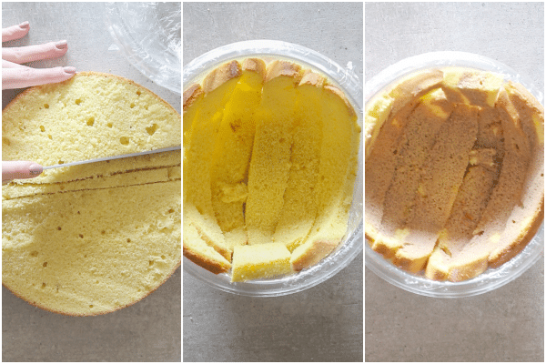 how to make a zuccotto, slicing the cake, placing in the bowl and covering in liquid