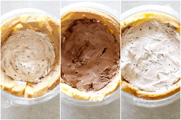 zuccotto how to make adding the 3 layers of ice cream