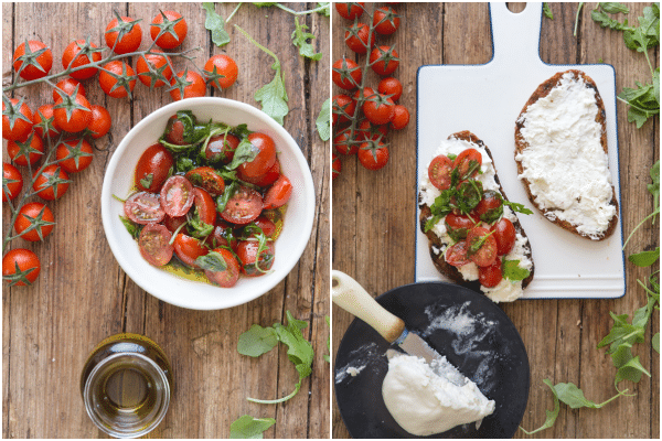 burrata bruschetta how to make the fresh tomato mixtrure and spread on the bread