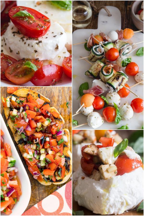 caprese salad, bruschetta, tomato skewers & stuffed mozzarella.