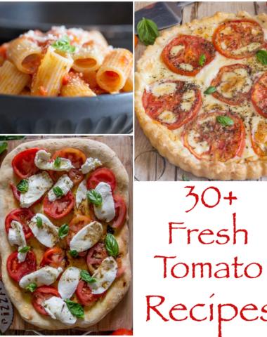 pasta in a dish, caprese pizza, tomato pie.