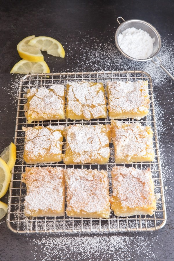lemon squares on a wire rack