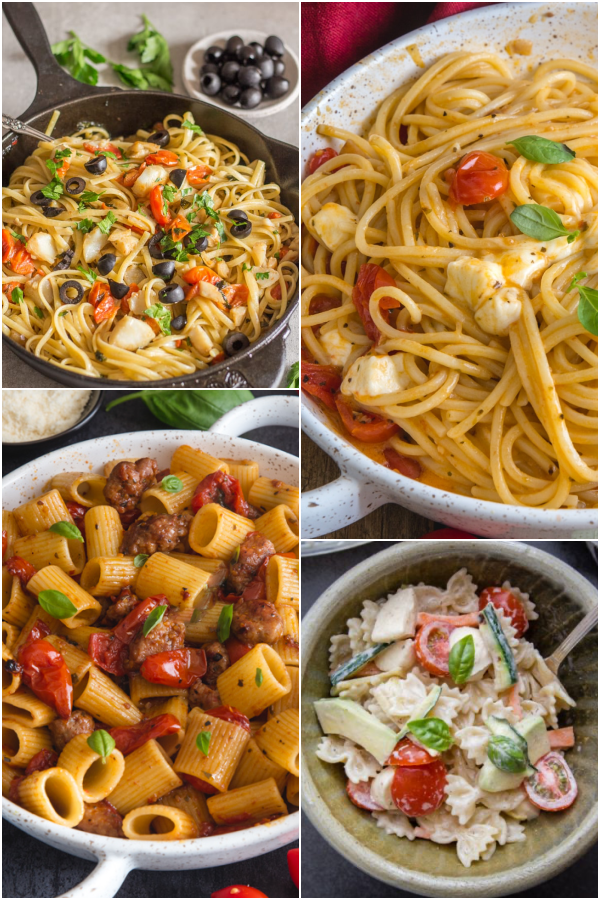 Baccala pasta, hot caprese pasta, sausage pasta & creamy pasta