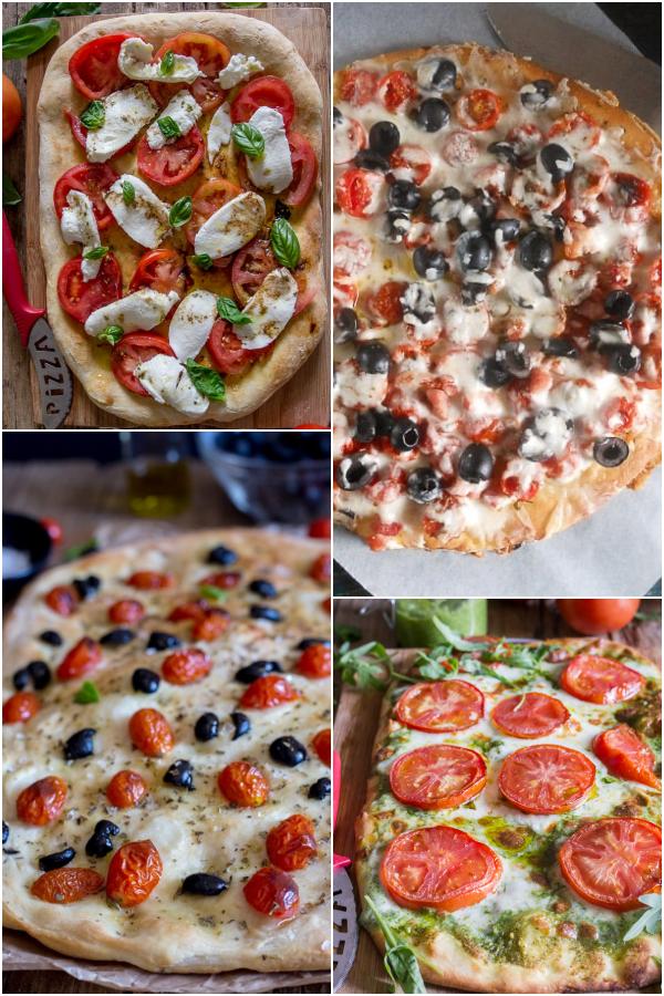 Caprese pizza, pizza with tomatoes & olives, tomato & olive focaccia, pest & tomato pizza.