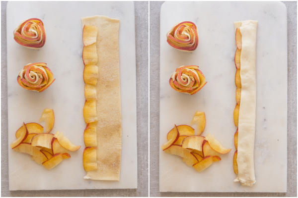 how to make puff pastry roses, sliced peaches on the pastry and folded over