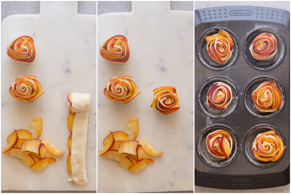 how to make puff pastry roses, rolled up and placed in muffin tin