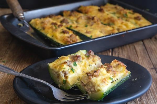 stuffed zucchini on a plate