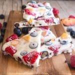 yogurt bark pieces on a wooden board