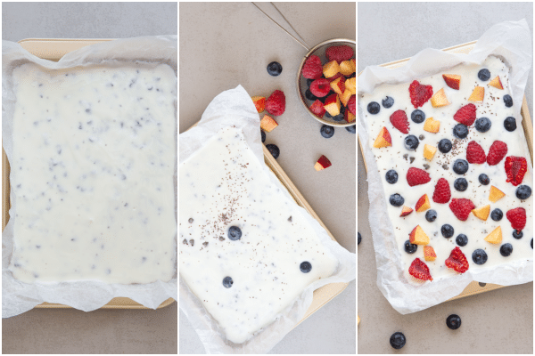 yogurt bark how to make spread in the pan, with fruit and ready for freezing